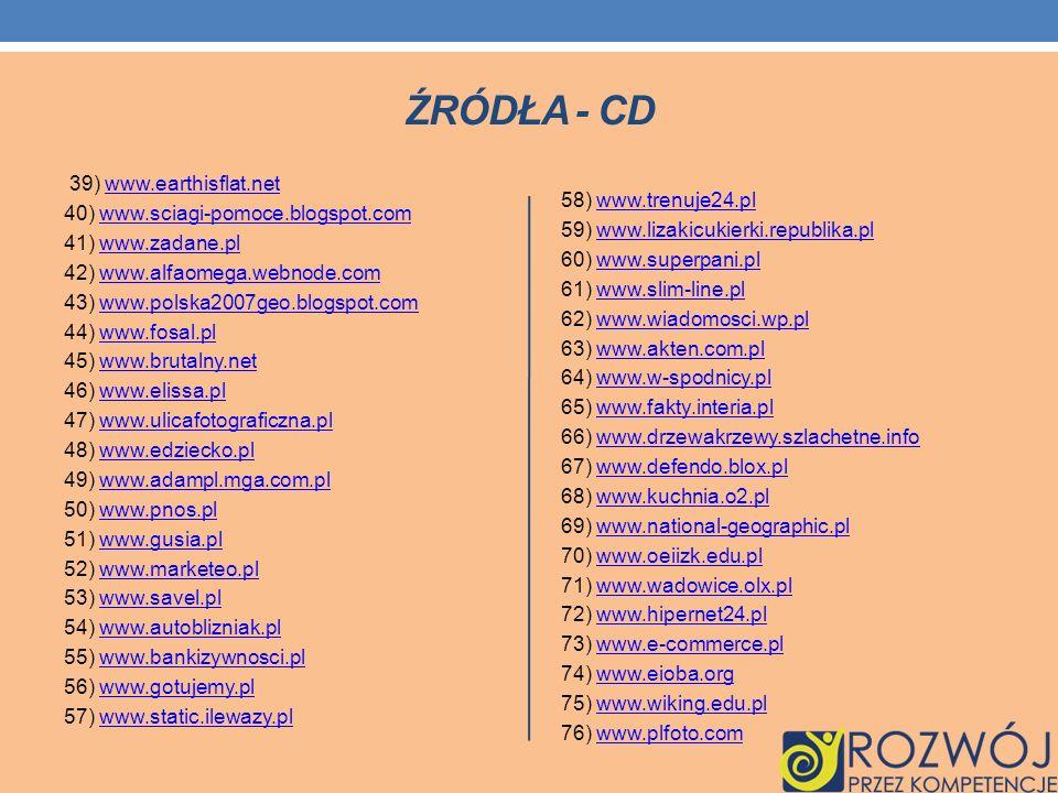 ŹRÓDŁA - CD 39) www.earthisflat.netwww.earthisflat.net 40) www.sciagi-pomoce.blogspot.comwww.sciagi-pomoce.blogspot.com 41) www.zadane.plwww.zadane.pl