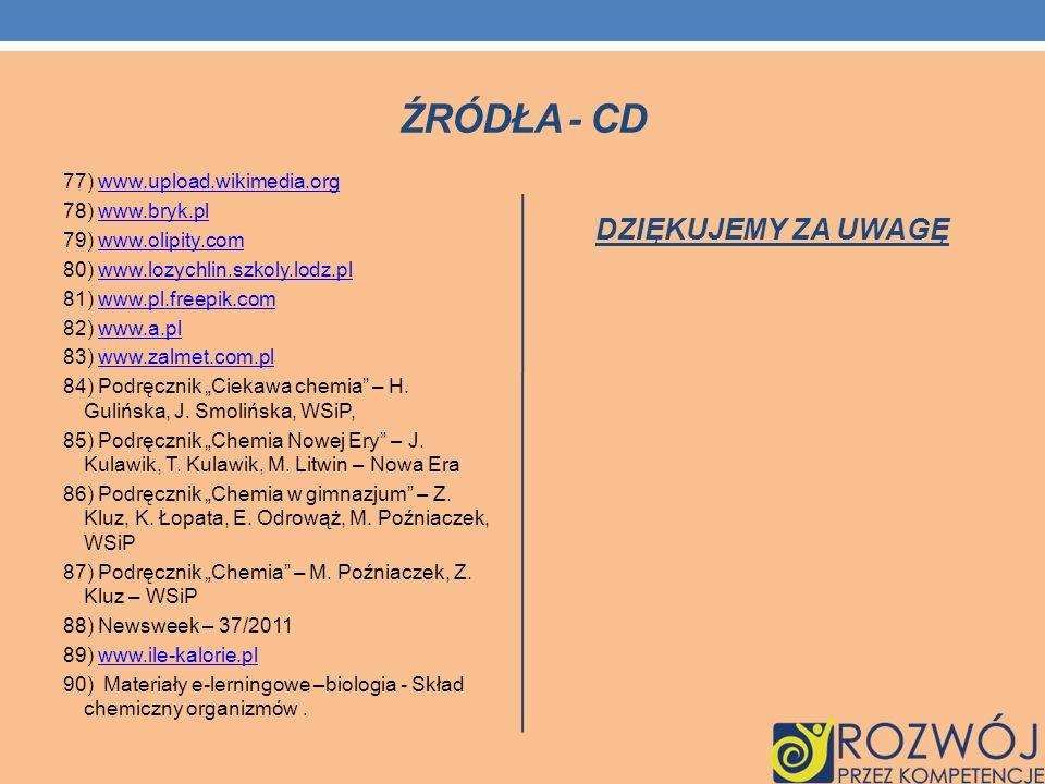 ŹRÓDŁA - CD 77) www.upload.wikimedia.orgwww.upload.wikimedia.org 78) www.bryk.plwww.bryk.pl 79) www.olipity.comwww.olipity.com 80) www.lozychlin.szkol