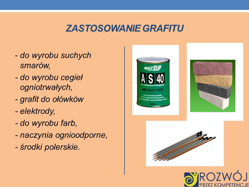 ZASTOSOWANIE GRAFITU - do wyrobu suchych smarów, - do wyrobu cegieł ogniotrwałych, - grafit do ołówków - elektrody, - do wyrobu farb, - naczynia ognio