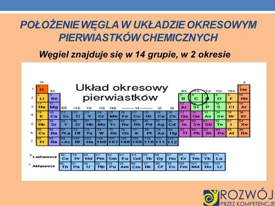 POŁOŻENIE WĘGLA W UKŁADZIE OKRESOWYM PIERWIASTKÓW CHEMICZNYCH Węgiel znajduje się w 14 grupie, w 2 okresie
