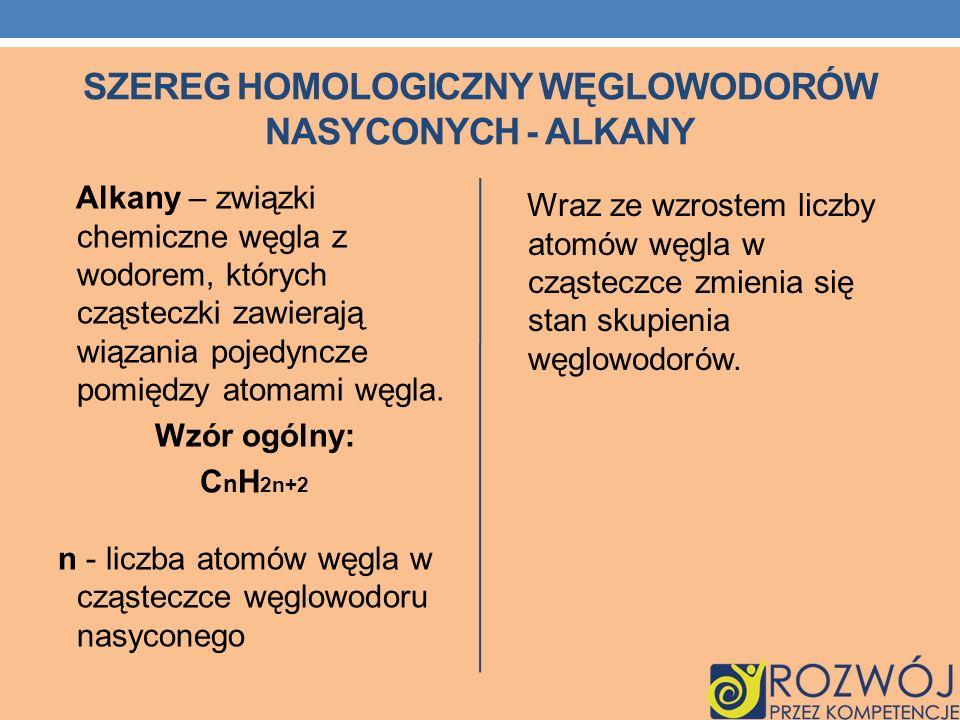 SZEREG HOMOLOGICZNY WĘGLOWODORÓW NASYCONYCH - ALKANY Alkany – związki chemiczne węgla z wodorem, których cząsteczki zawierają wiązania pojedyncze pomi