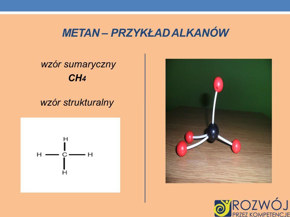 METAN – PRZYKŁAD ALKANÓW wzór sumaryczny CH 4 wzór strukturalny
