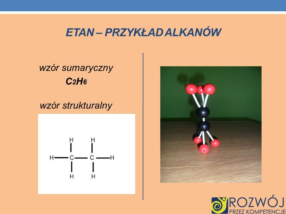 ETAN – PRZYKŁAD ALKANÓW wzór sumaryczny C 2 H 6 wzór strukturalny