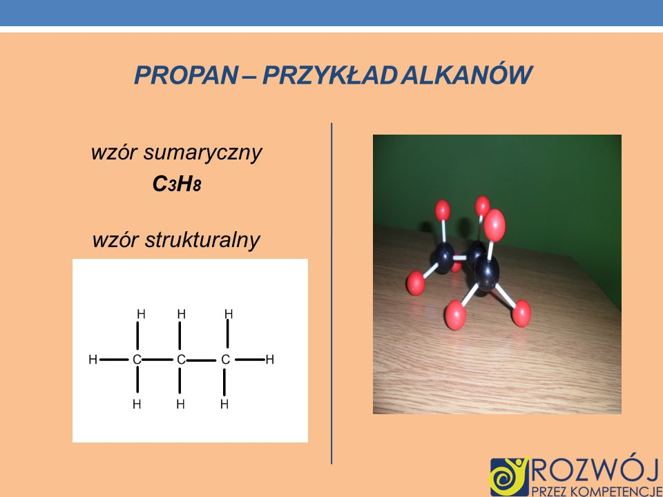 PROPAN – PRZYKŁAD ALKANÓW wzór sumaryczny C 3 H 8 wzór strukturalny