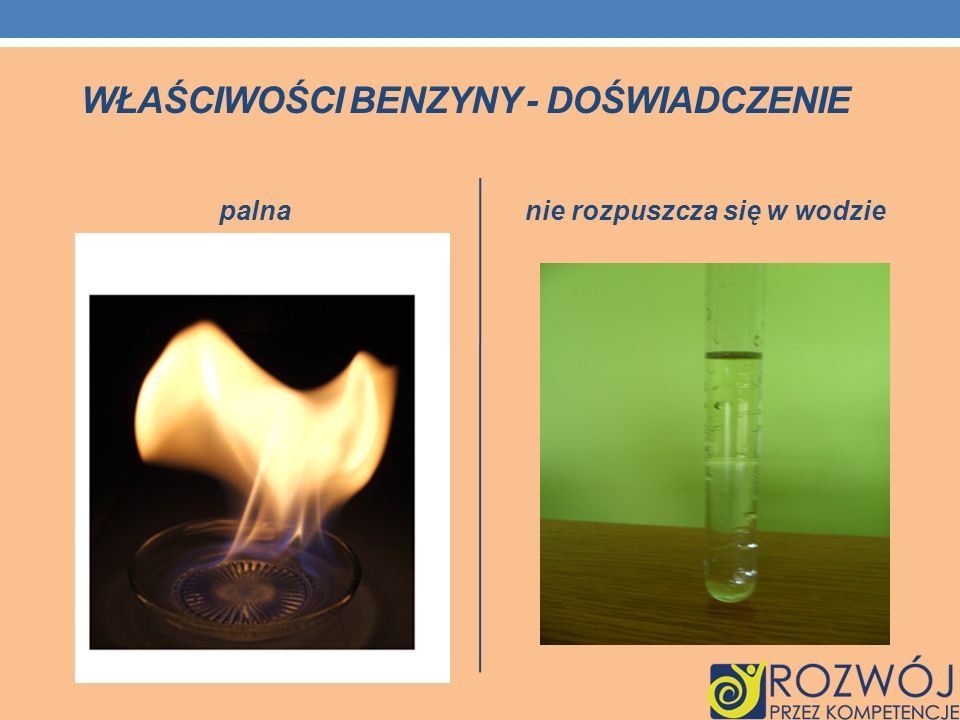WŁAŚCIWOŚCI BENZYNY - DOŚWIADCZENIE palnanie rozpuszcza się w wodzie