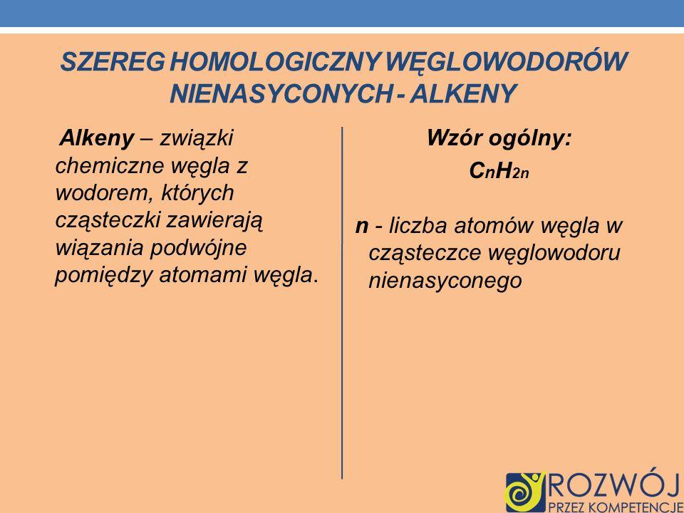 SZEREG HOMOLOGICZNY WĘGLOWODORÓW NIENASYCONYCH - ALKENY Alkeny – związki chemiczne węgla z wodorem, których cząsteczki zawierają wiązania podwójne pom