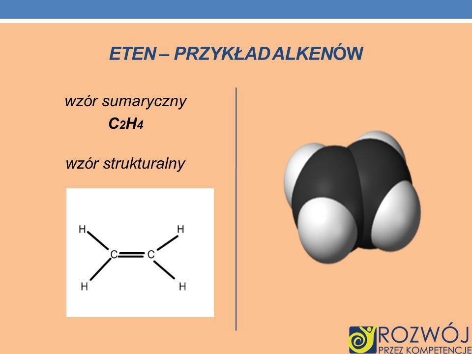 ETEN – PRZYKŁAD ALKENÓW wzór sumaryczny C 2 H 4 wzór strukturalny