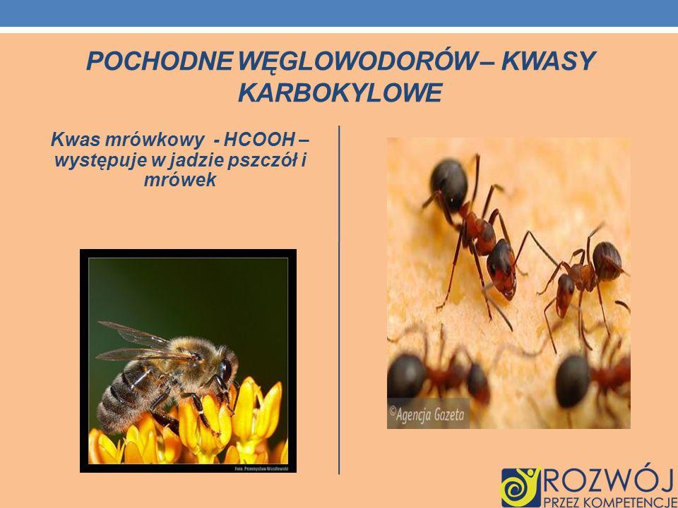 POCHODNE WĘGLOWODORÓW – KWASY KARBOKYLOWE Kwas mrówkowy - HCOOH – występuje w jadzie pszczół i mrówek