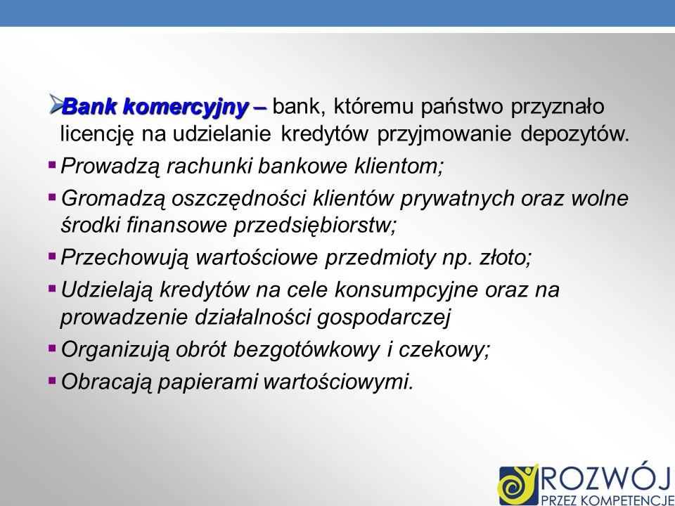 Bankkomercyjny – Bank komercyjny – bank, któremu państwo przyznało licencję na udzielanie kredytów przyjmowanie depozytów. Prowadzą rachunki bankowe k