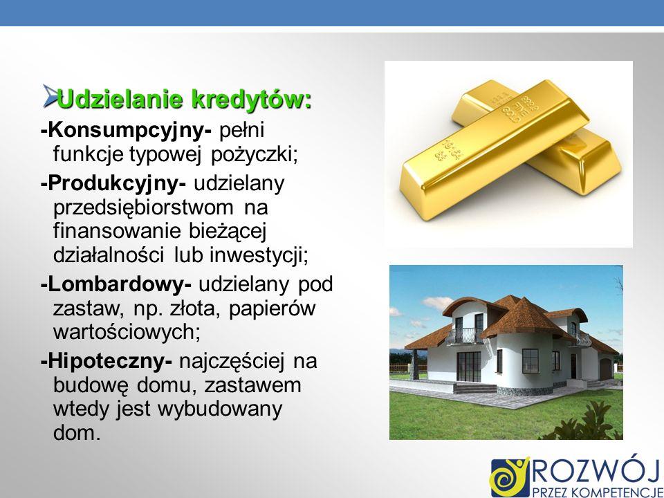 Udzielanie kredytów: Udzielanie kredytów: -Konsumpcyjny- pełni funkcje typowej pożyczki; -Produkcyjny- udzielany przedsiębiorstwom na finansowanie bie