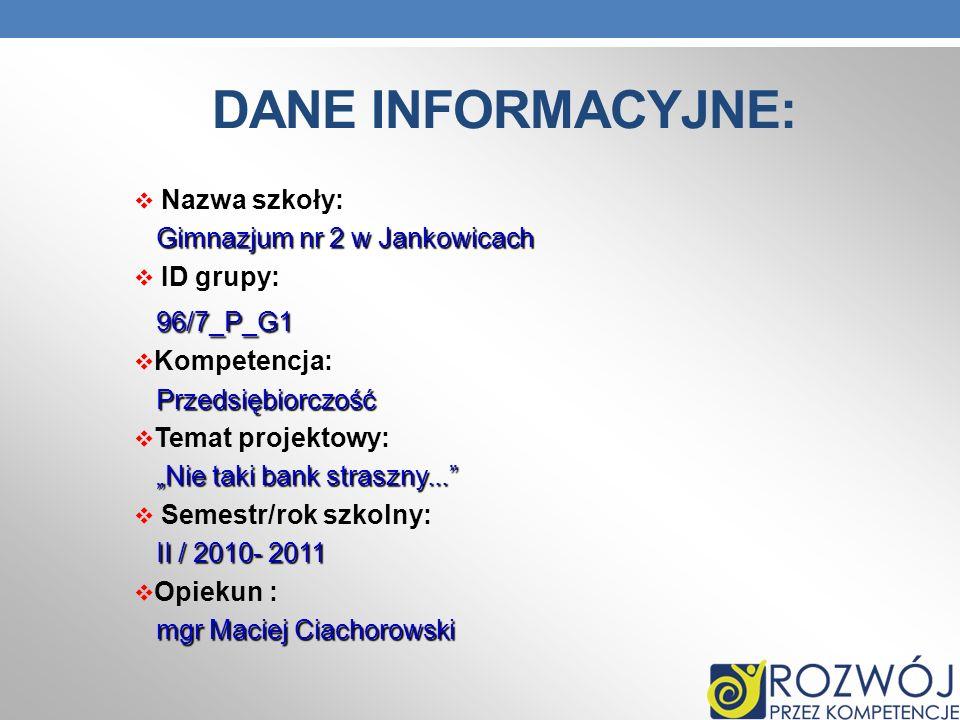 DANE INFORMACYJNE: Nazwa szkoły: Gimnazjum nr 2 w Jankowicach ID grupy: 96/7_P_G1 Kompetencja: Przedsiębiorczość Przedsiębiorczość Temat projektowy: N