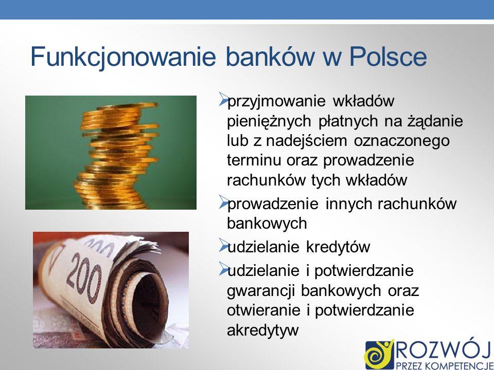 Funkcjonowanie banków w Polsce przyjmowanie wkładów pieniężnych płatnych na żądanie lub z nadejściem oznaczonego terminu oraz prowadzenie rachunków ty
