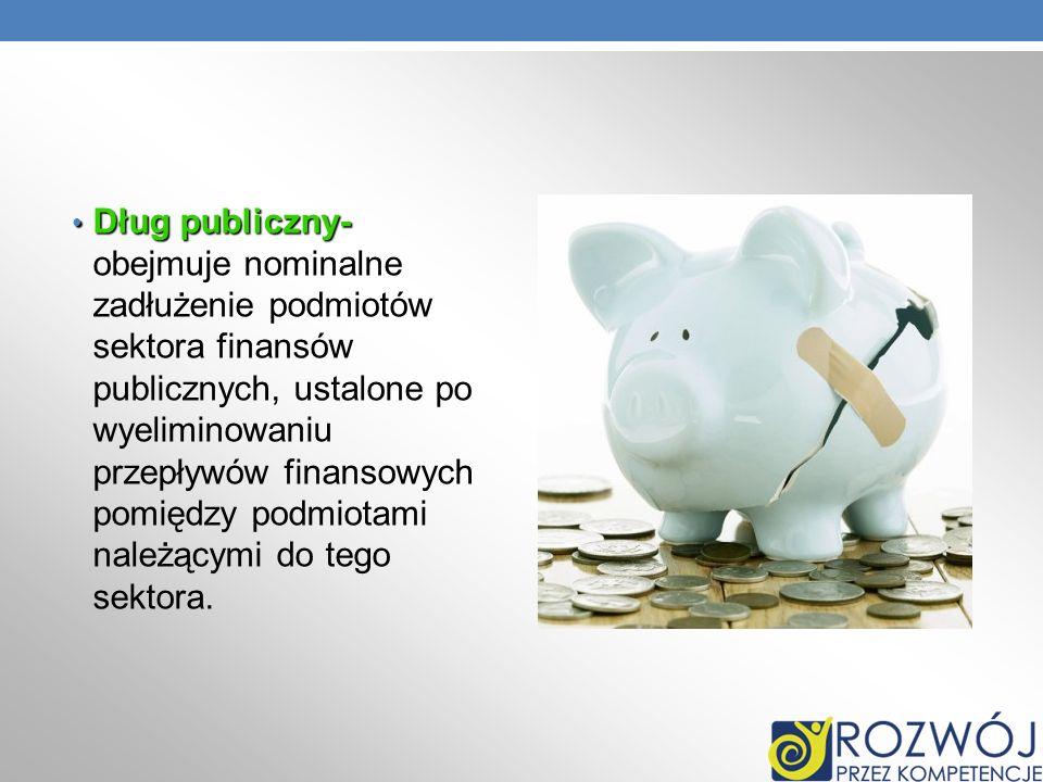 Dług publiczny- Dług publiczny- obejmuje nominalne zadłużenie podmiotów sektora finansów publicznych, ustalone po wyeliminowaniu przepływów finansowyc