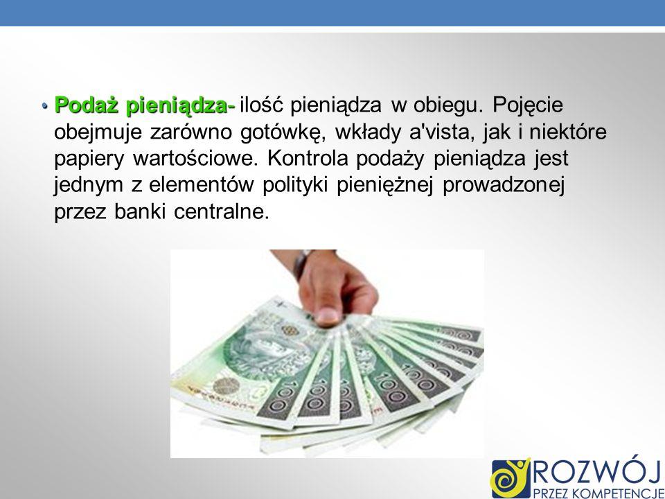 Podaż pieniądza- Podaż pieniądza- ilość pieniądza w obiegu. Pojęcie obejmuje zarówno gotówkę, wkłady a'vista, jak i niektóre papiery wartościowe. Kont