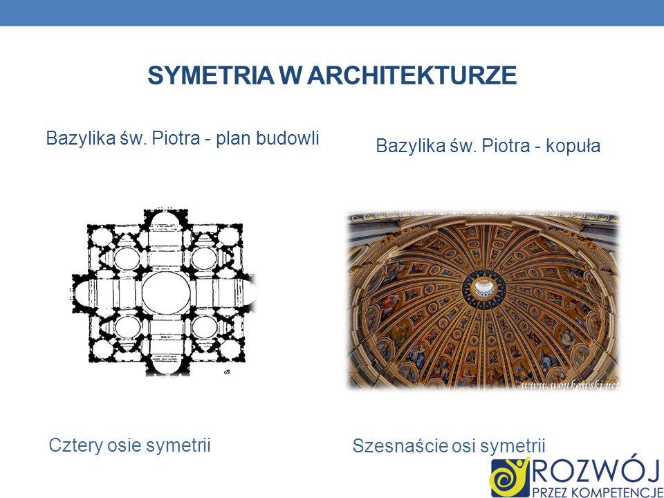 SYMETRIA W ARCHITEKTURZE Bazylika św. Piotra - plan budowli Cztery osie symetrii Bazylika św. Piotra - kopuła Szesnaście osi symetrii