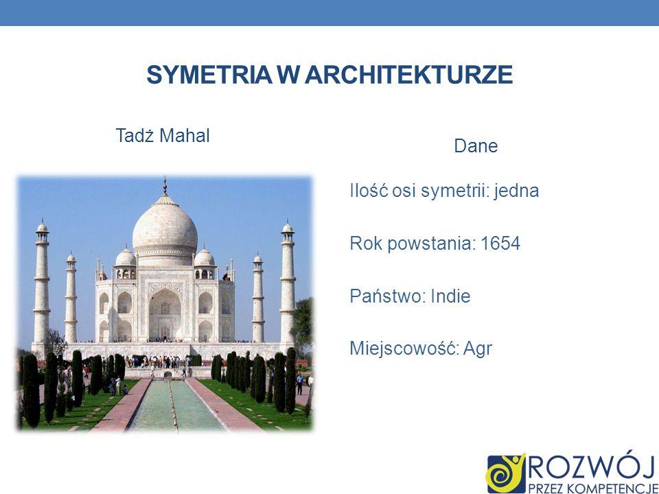 SYMETRIA W ARCHITEKTURZE Tadż Mahal Dane Ilość osi symetrii: jedna Rok powstania: 1654 Państwo: Indie Miejscowość: Agr