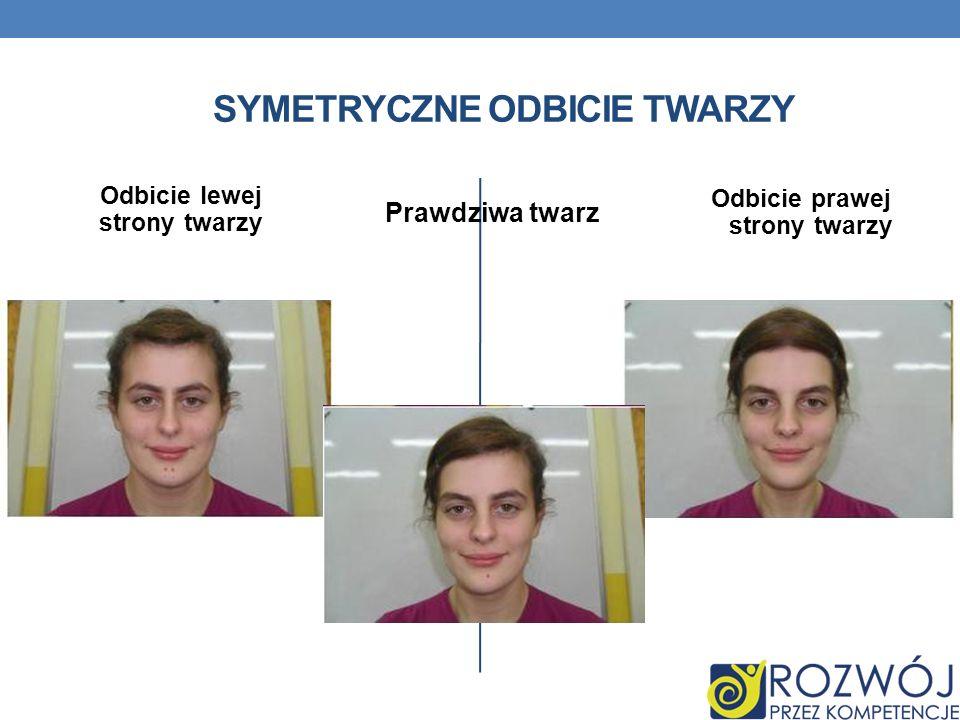 Odbicie lewej strony twarzy Prawdziwa twarz Odbicie prawej strony twarzy SYMETRYCZNE ODBICIE TWARZY