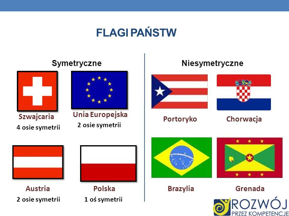 FLAGI PAŃSTW SymetryczneNiesymetryczne Szwajcaria 4 osie symetrii 2 osie symetrii Unia Europejska Austria 2 osie symetrii1 oś symetrii Polska Portoryk