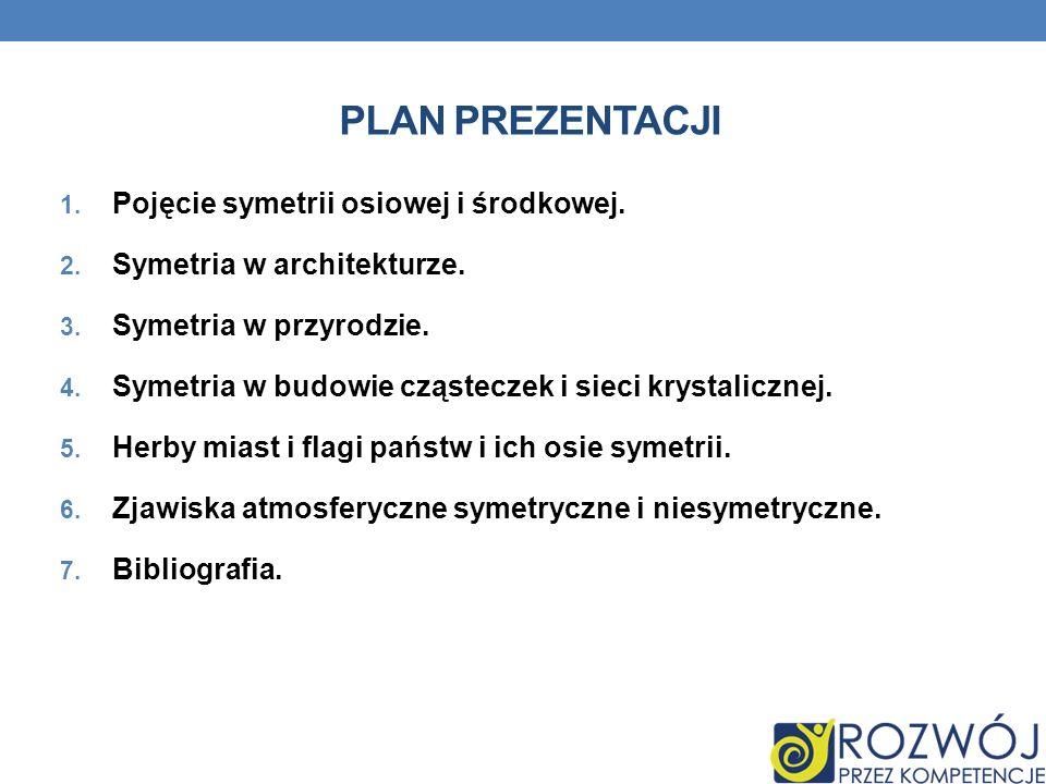 PLAN PREZENTACJI 1. Pojęcie symetrii osiowej i środkowej. 2. Symetria w architekturze. 3. Symetria w przyrodzie. 4. Symetria w budowie cząsteczek i si