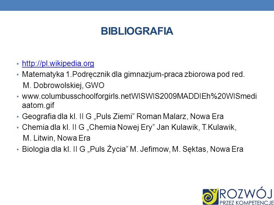 BIBLIOGRAFIA http://pl.wikipedia.org Matematyka 1.Podręcznik dla gimnazjum-praca zbiorowa pod red. M. Dobrowolskiej, GWO www.columbusschoolforgirls.ne