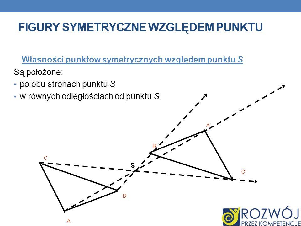 FIGURY SYMETRYCZNE WZGLĘDEM PUNKTU Własności punktów symetrycznych względem punktu S Są położone: po obu stronach punktu S w równych odległościach od