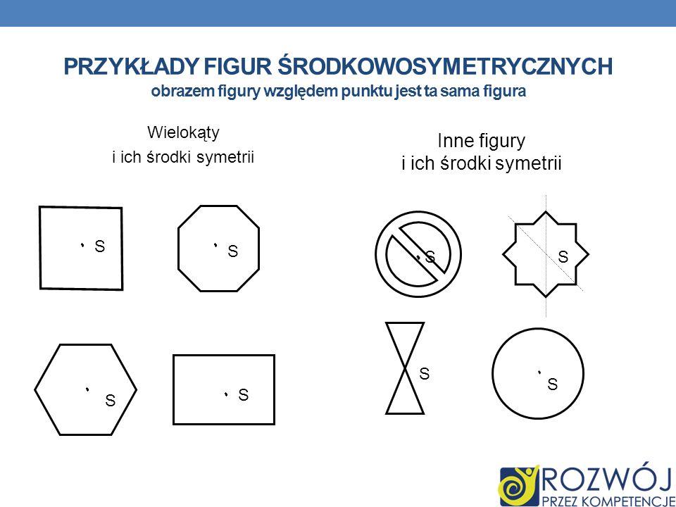 PRZYKŁADY FIGUR ŚRODKOWOSYMETRYCZNYCH obrazem figury względem punktu jest ta sama figura Wielokąty i ich środki symetrii Inne figury i ich środki syme
