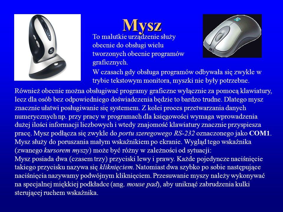 Mysz To malutkie urządzenie służy obecnie do obsługi wielu tworzonych obecnie programów graficznych. W czasach gdy obsługa programów odbywała się zwyk