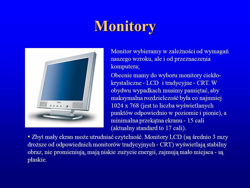 Tradycyjne monitory CRT dostępne są o przekątnej ekranu 15, 17, 19 i 21 cali Istotnym parametrem monitorów CRT to płaski ekran, powłoka anty-odblaskowa, częstotliwość odświeżania poziomego co najmniej 75 Hz (nie jest wtedy odczuwalny efekt mrugania obrazu), poziom jaskrawości, wielkość plamki - od 20 do 28 mm; im mniejsza plamka tym bardziej wyraźny jest obraz.