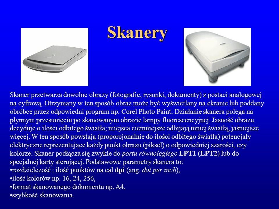 Skanery Skaner przetwarza dowolne obrazy (fotografie, rysunki, dokumenty) z postaci analogowej na cyfrową. Otrzymany w ten sposób obraz może być wyświ