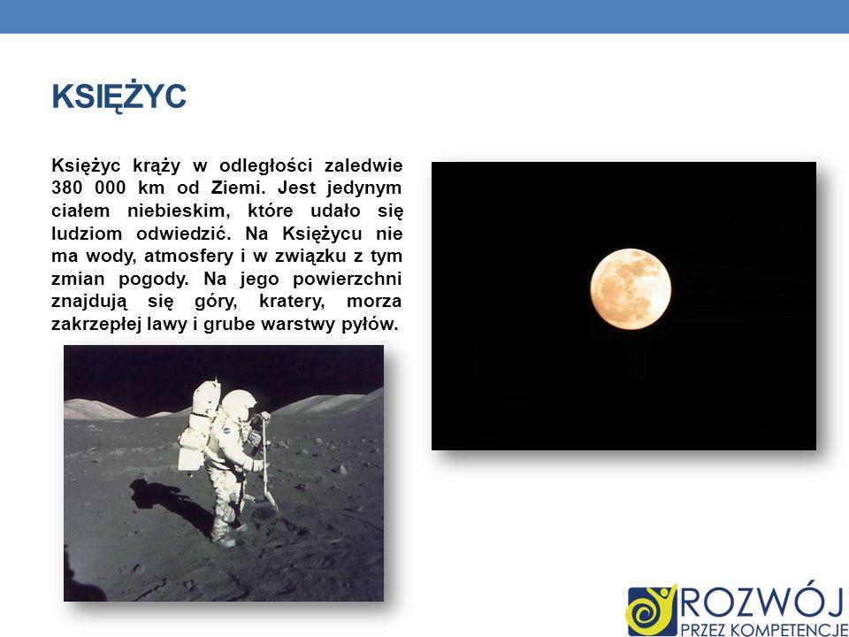 KSIĘŻYC Księżyc krąży w odległości zaledwie 380 000 km od Ziemi. Jest jedynym ciałem niebieskim, które udało się ludziom odwiedzić. Na Księżycu nie ma