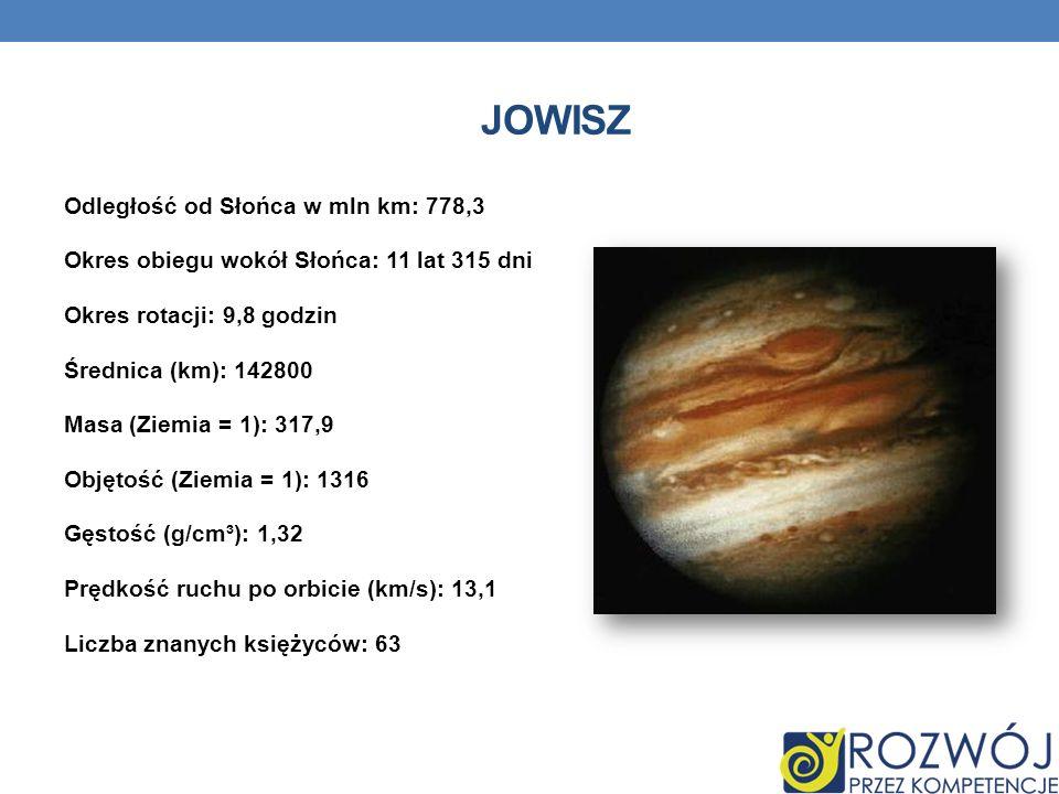 JOWISZ Odległość od Słońca w mln km: 778,3 Okres obiegu wokół Słońca: 11 lat 315 dni Okres rotacji: 9,8 godzin Średnica (km): 142800 Masa (Ziemia = 1)