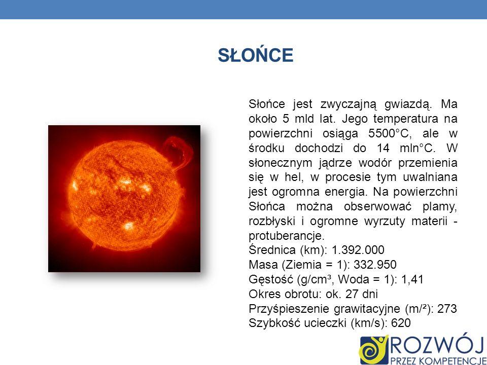 SŁOŃCE Słońce jest zwyczajną gwiazdą. Ma około 5 mld lat. Jego temperatura na powierzchni osiąga 5500°C, ale w środku dochodzi do 14 mln°C. W słoneczn