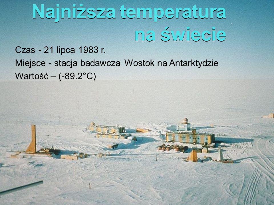 Najniższa temperatura na świecie Czas - 21 lipca 1983 r. Miejsce - stacja badawcza Wostok na Antarktydzie Wartość – (-89.2°C)