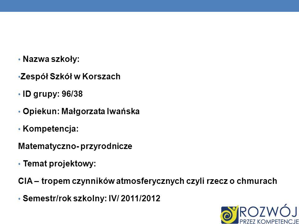 Nazwa szkoły: Zespół Szkół w Korszach ID grupy: 96/38 Opiekun: Małgorzata Iwańska Kompetencja: Matematyczno- przyrodnicze Temat projektowy: CIA – trop