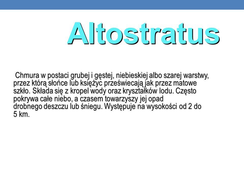 Altostratus Chmura w postaci grubej i gęstej, niebieskiej albo szarej warstwy, przez którą słońce lub księżyc przeświecają jak przez matowe szkło. Skł