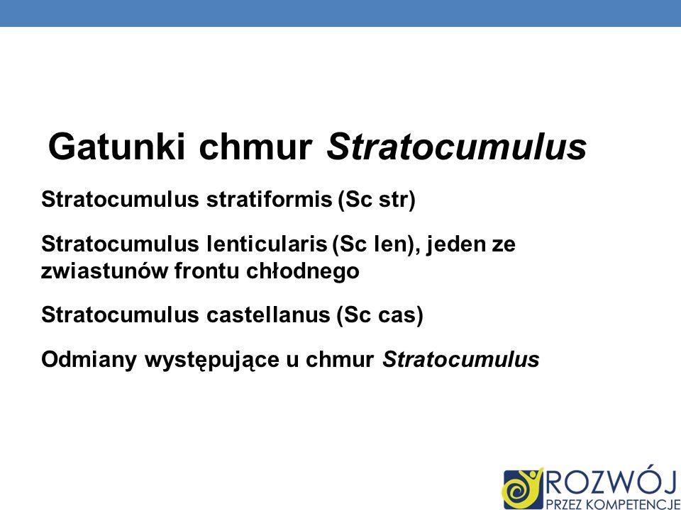 Gatunki chmur Stratocumulus Stratocumulus stratiformis (Sc str) Stratocumulus lenticularis (Sc len), jeden ze zwiastunów frontu chłodnego Stratocumulu