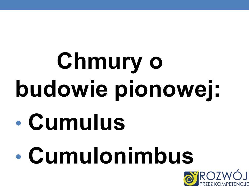 Chmury o budowie pionowej: Cumulus Cumulonimbus
