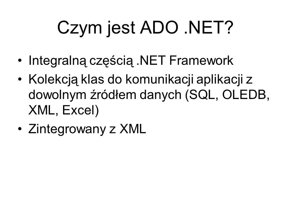 Czym jest ADO.NET? Integralną częścią.NET Framework Kolekcją klas do komunikacji aplikacji z dowolnym źródłem danych (SQL, OLEDB, XML, Excel) Zintegro