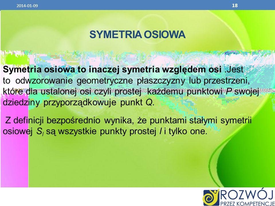 SYMETRIA OSIOWA Symetria osiowa to inaczej symetria względem osi.Jest to odwzorowanie geometryczne płaszczyzny lub przestrzeni, które dla ustalonej os