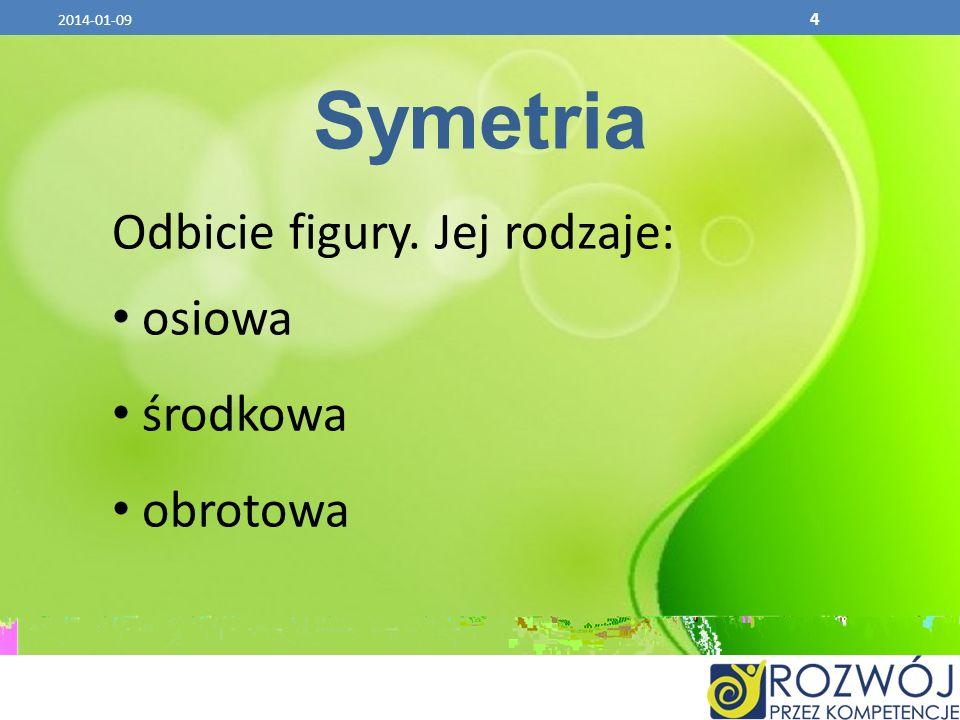 4 Symetria Odbicie figury. Jej rodzaje: osiowa środkowa obrotowa