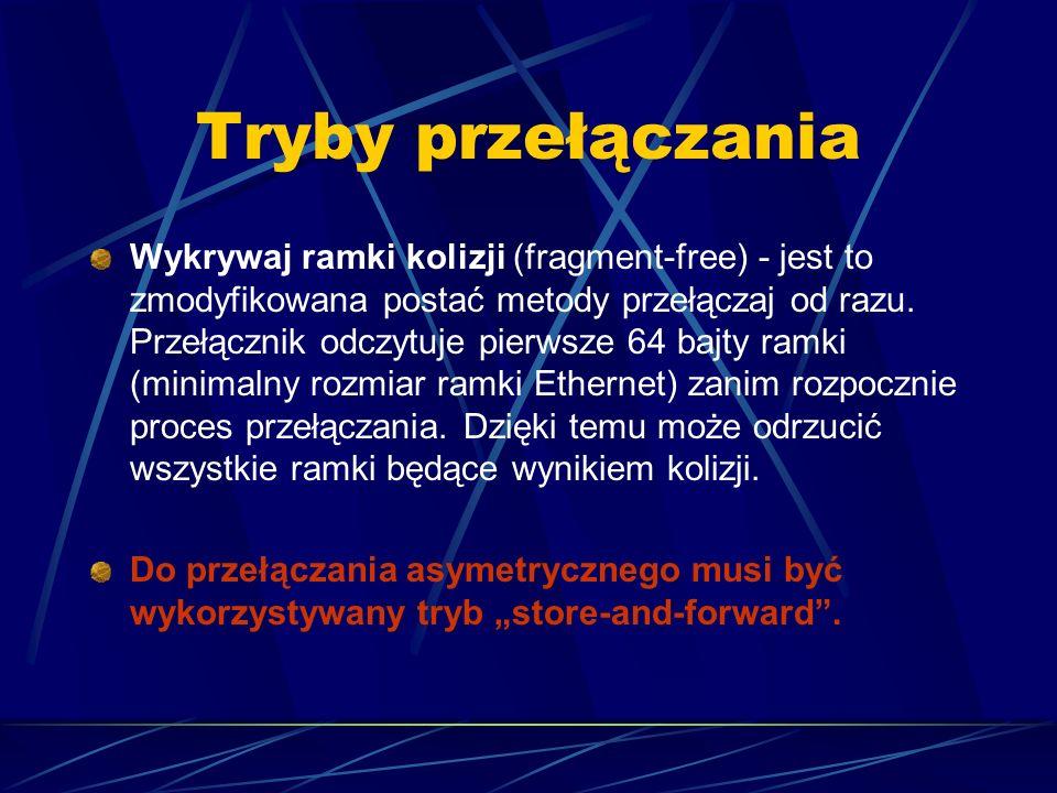 Tryby przełączania Wykrywaj ramki kolizji (fragment-free) - jest to zmodyfikowana postać metody przełączaj od razu. Przełącznik odczytuje pierwsze 64