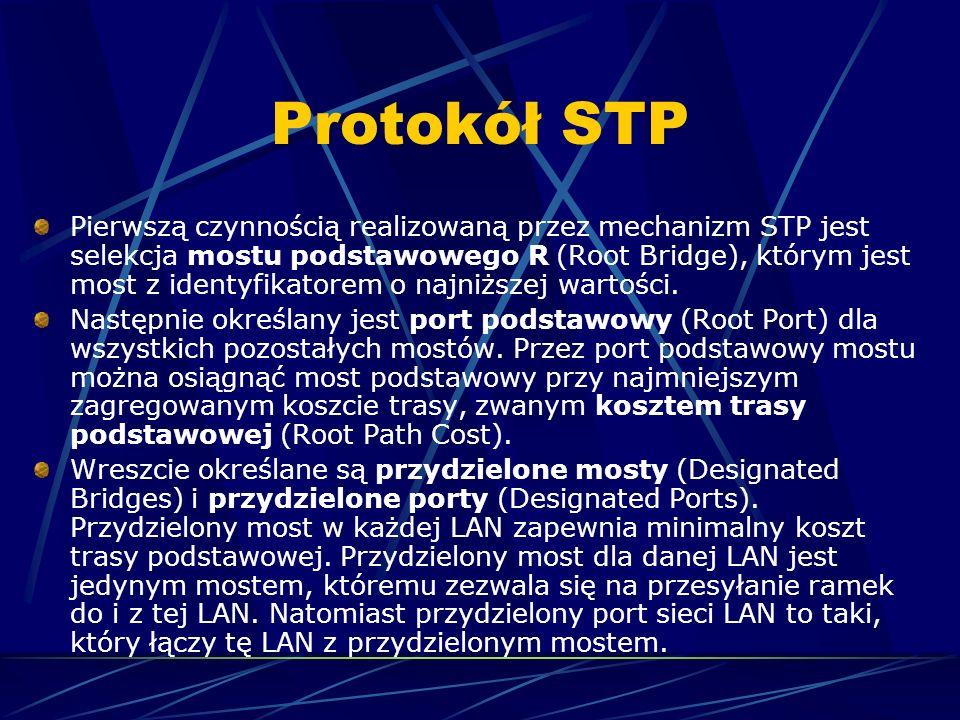 Protokół STP Pierwszą czynnością realizowaną przez mechanizm STP jest selekcja mostu podstawowego R (Root Bridge), którym jest most z identyfikatorem