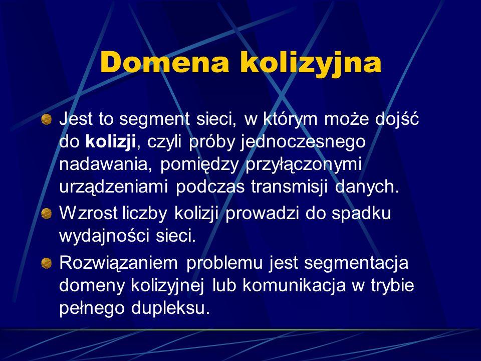 Domena kolizyjna Jest to segment sieci, w którym może dojść do kolizji, czyli próby jednoczesnego nadawania, pomiędzy przyłączonymi urządzeniami podcz