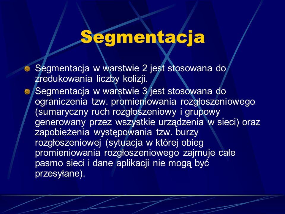 Segmentacja Segmentacja w warstwie 2 jest stosowana do zredukowania liczby kolizji. Segmentacja w warstwie 3 jest stosowana do ograniczenia tzw. promi
