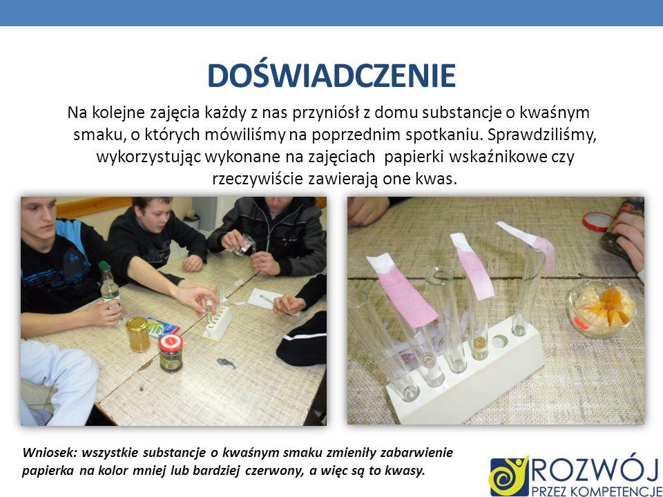 Na kolejne zajęcia każdy z nas przyniósł z domu substancje o kwaśnym smaku, o których mówiliśmy na poprzednim spotkaniu. Sprawdziliśmy, wykorzystując