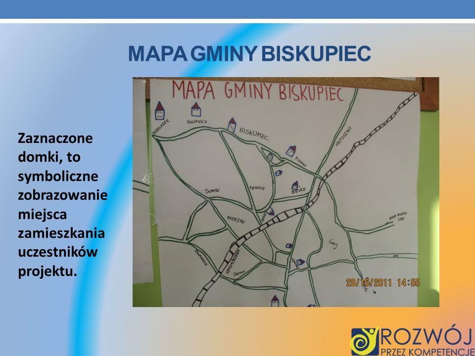 MAPA GMINY BISKUPIEC Zaznaczone domki, to symboliczne zobrazowanie miejsca zamieszkania uczestników projektu.