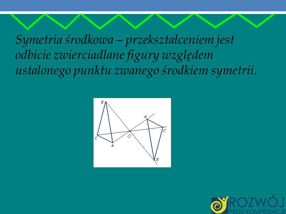 Symetria osiowa – przekształceniem jest odbicie zwierciadlane figury względem zadanej prostej zwanej osią symetrii.