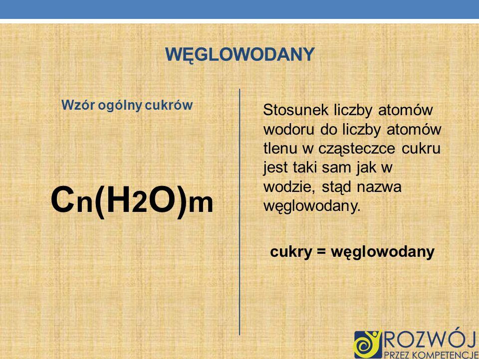 WĘGLOWODANY Wzór ogólny cukrów C n (H 2 O) m Stosunek liczby atomów wodoru do liczby atomów tlenu w cząsteczce cukru jest taki sam jak w wodzie, stąd