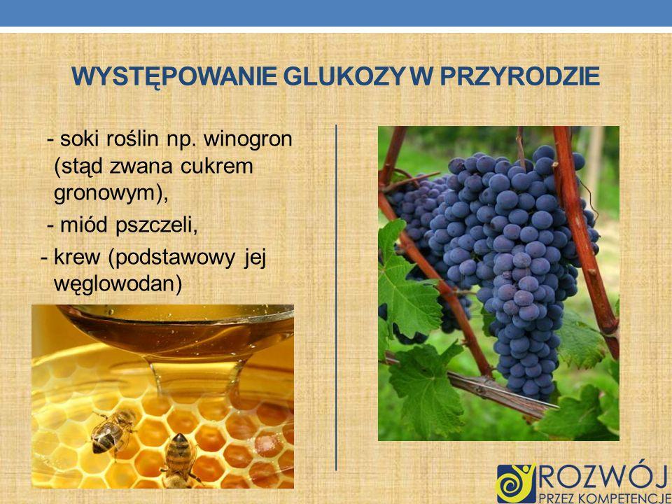 WYSTĘPOWANIE GLUKOZY W PRZYRODZIE - soki roślin np. winogron (stąd zwana cukrem gronowym), - miód pszczeli, - krew (podstawowy jej węglowodan)