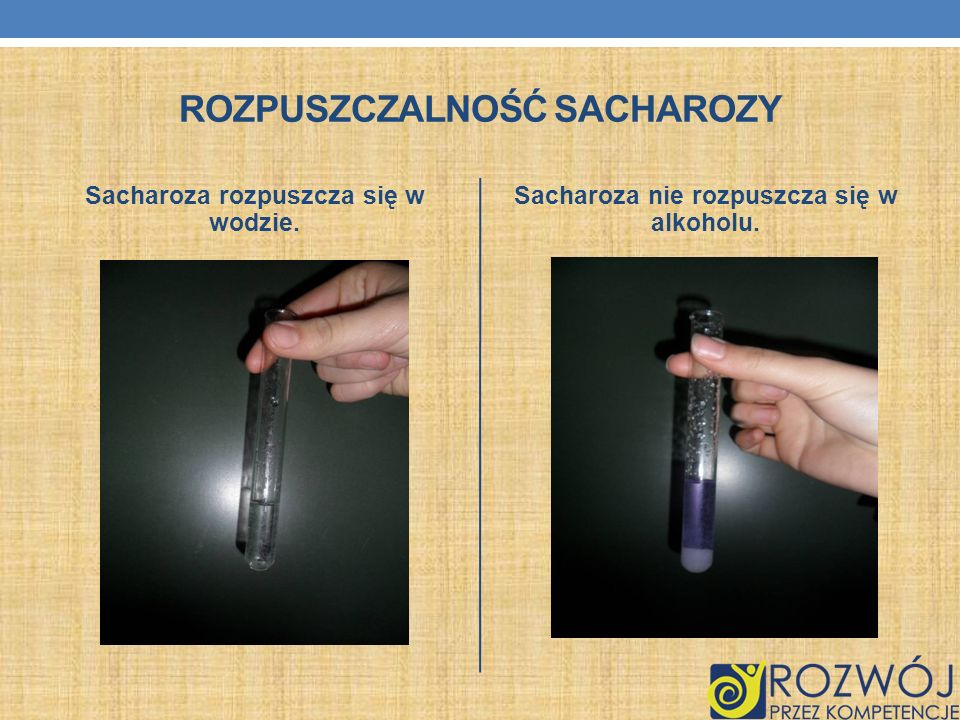 ROZPUSZCZALNOŚĆ SACHAROZY Sacharoza rozpuszcza się w wodzie. Sacharoza nie rozpuszcza się w alkoholu.